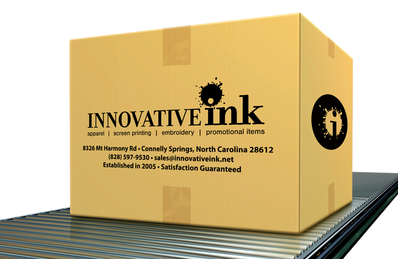 Innovative Ink box on conveyor belt, ready for delivery. Contact Innovative Ink today! (828) 597-9530 - sales@innovativeink.net